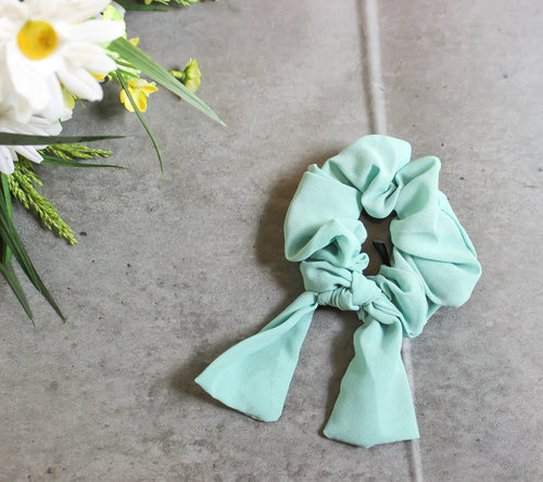 spearmint green hair scrunchie