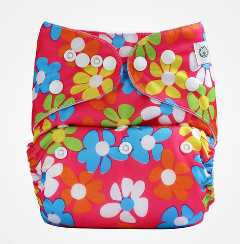 Pocket Diaper (Pink Flowers)