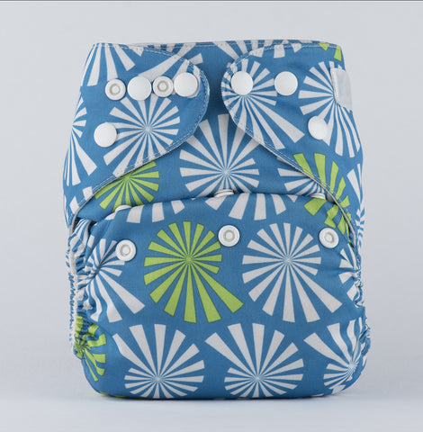 Pocket Diaper-Wflower on Blue