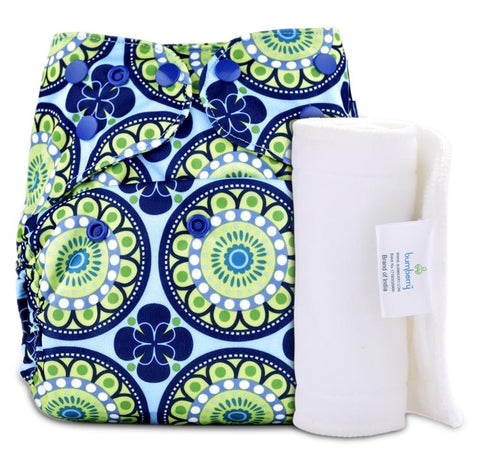 Bumberry Cover Diaper (Big Round Flowers) + 1 Wet free Insert