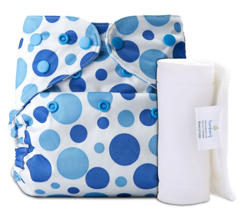 Bumberry Cover Diaper (Blue Dots) + 1 Wetfree Insert