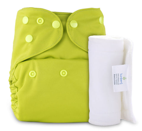 Bumberry Cover Diaper (Bright Green) + 1 Wet free Insert
