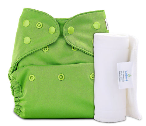 Bumberry Cover Diaper (Deep Green) + 1 Wet free Insert