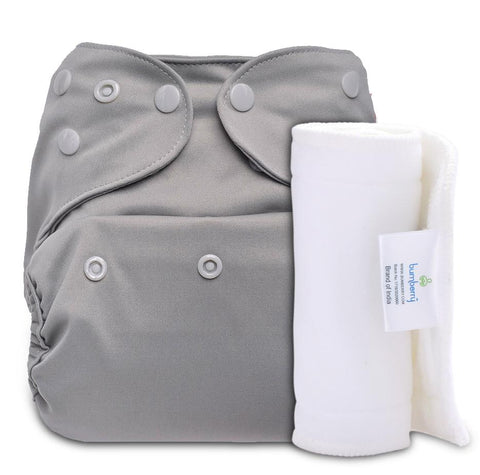 Bumberry Cover Diaper (Grey) + 1 Wet free Insert