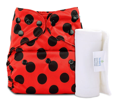 Bumberry Cover Diaper (Ladybug) + 1 Wet free Insert