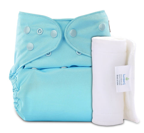 Bumberry Cover Diaper (Baby Blue) + 1 Wet free Insert