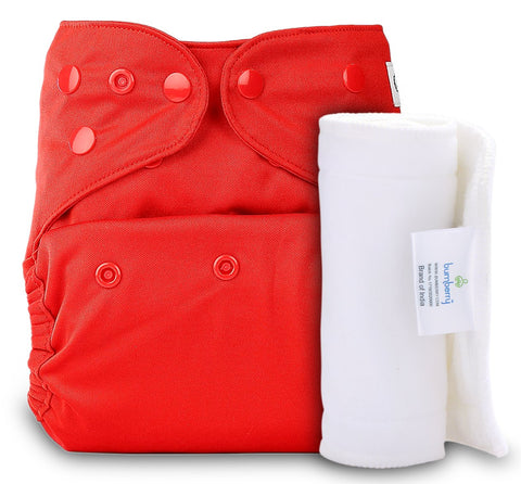 Bumberry Cover Diaper (Red) + 1 Wet free Insert