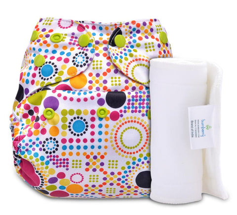 Bumberry Cover Diaper (Retro Print) + 1 Wet free Insert