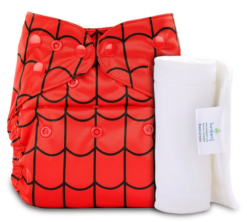 Bumberry Cover Diaper (Spiderman) + 1 Wet free Insert