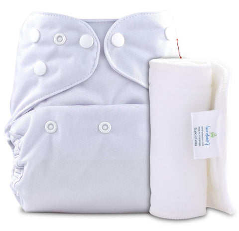 Bumberry Cover Diaper (White) + 1 Wet free Insert