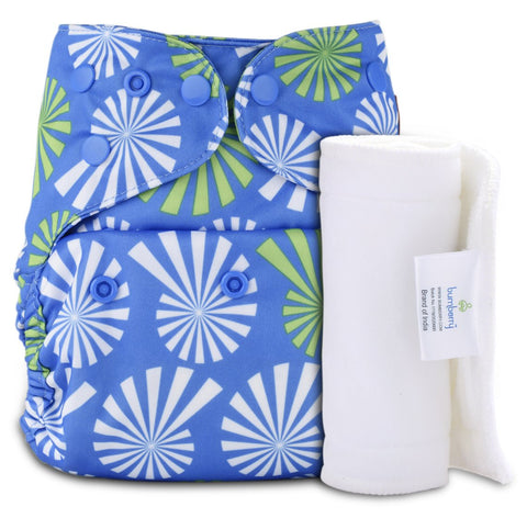 Bumberry Cover Diaper (White Flowers on Blue) + 1 Wet free Insert