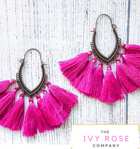 Violet Tassel Earrings