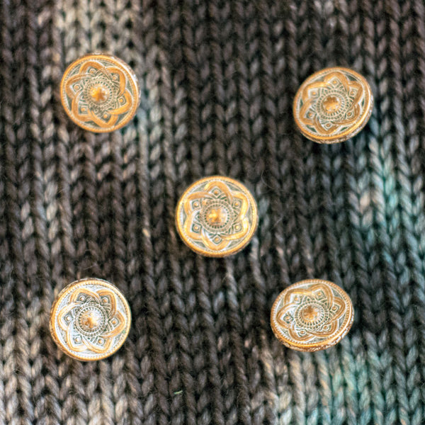 "Copper Shank Buttons with Light Grey Patina - 9/16"" (5 pack)"