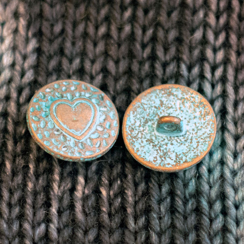 "Copper Heart Shank Buttons with Turquoise Patina - 3/4"" (5 pack)"