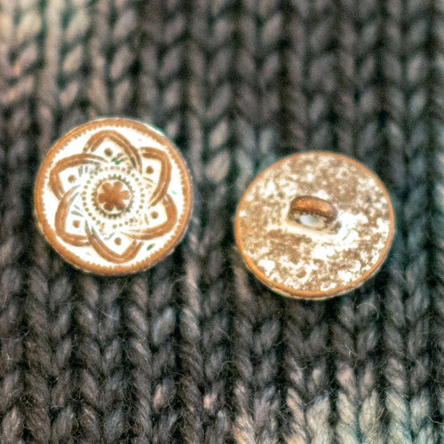 "Copper Shank Buttons with White Patina - 9/16"" (5 pack)"
