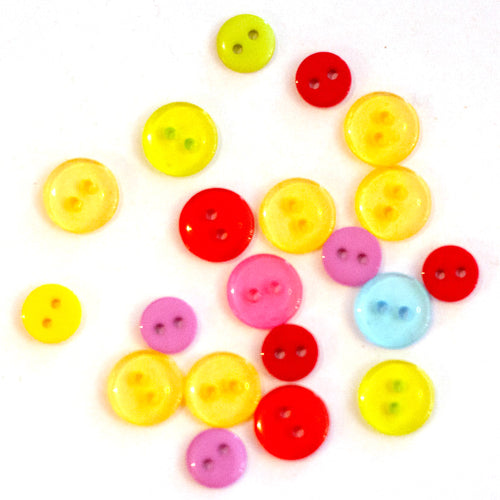 "Mini buttons rainbow mix - 5/16"" to 7/16"" (20 pack)"
