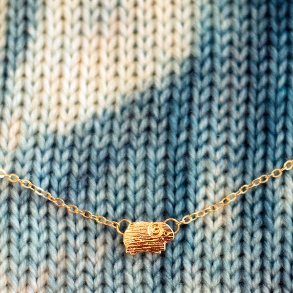 Sheep Necklace - Gold tone