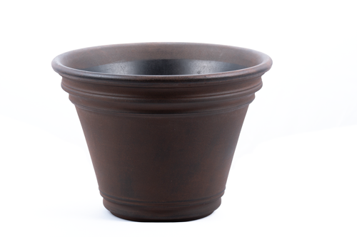 "Premium hand painted garden planter - 16"" Doge in Rust"