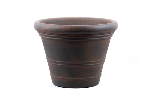 "Premium hand painted garden planter - 18"" Ancona in Rust"