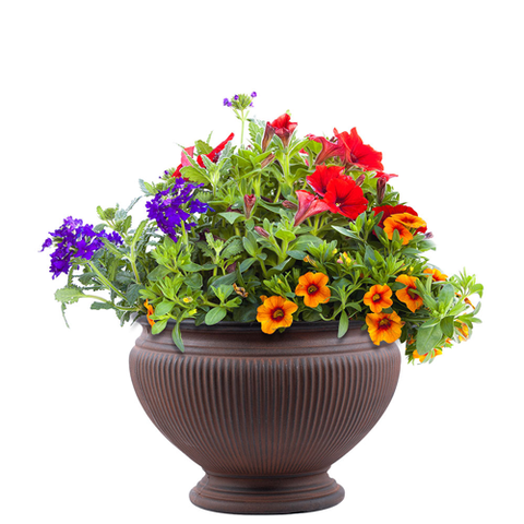 "Premium hand painted garden planter - 16"" Mezzo in Rust"