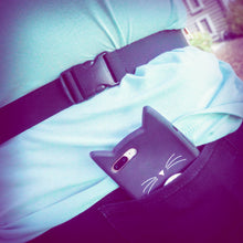 the midsection of a person wearing a fanny pack, showing the adjustable black nylon waistband