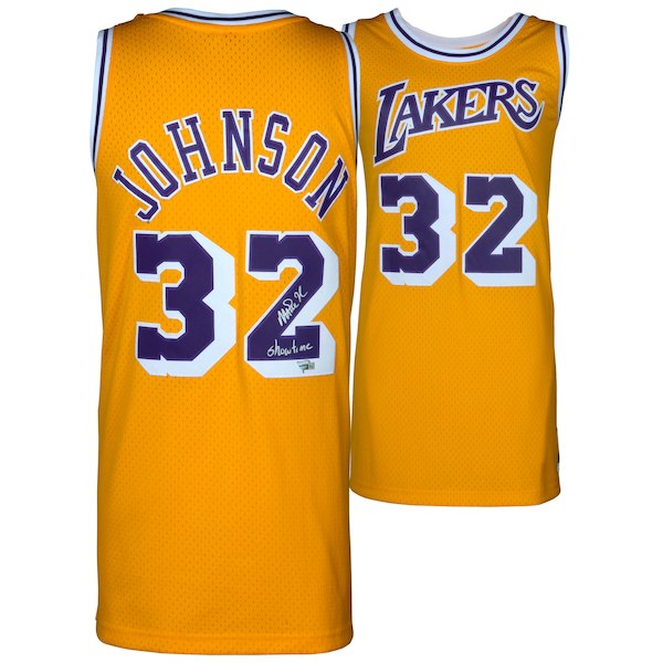 "Magic Johnson Los Angeles Lakers Autographed Gold Mitchell & Ness Hardwood Classics Swingman Jersey with ""Showtime"" Inscription"