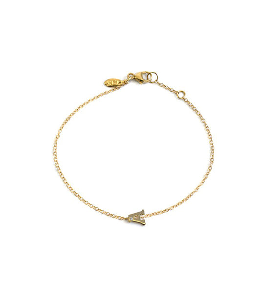 Love Letter Customizable Single Diamond Bracelet - Yellow Gold