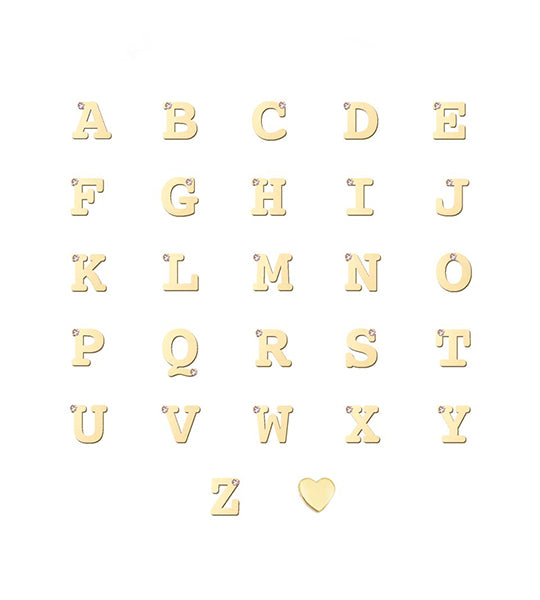 Customizable Love Letter Single Diamond Necklace - Yellow Gold