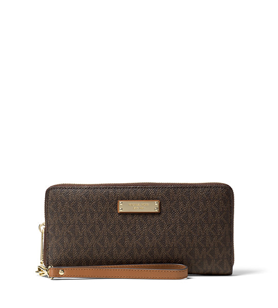 Jet Set Travel Continental Wallet Signature Brown