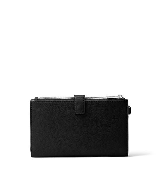 Jet Set Double Zip Wristlet Black