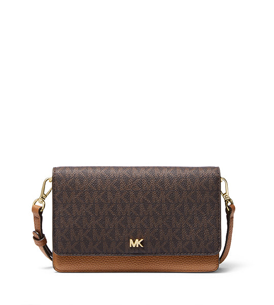 Mott Pebbled Leather Phone Crossbody Brown