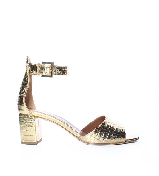 Metallic Gold Croco Sandal