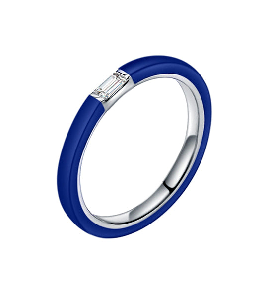 Cara Blue Ceramic Baguette Diamond Ring