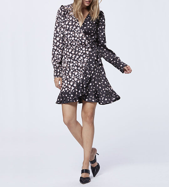 Carrie Ann Dress - Black Fragrant Rose