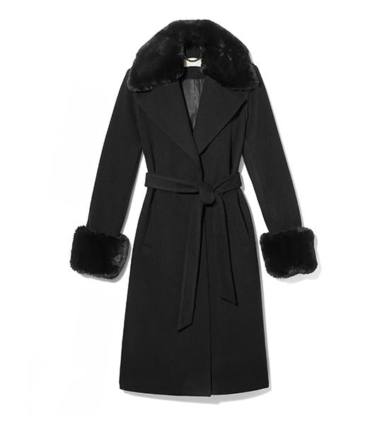 Wool Wrap Coat With Faux Fur