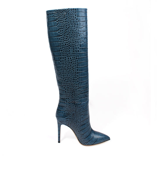 Blue Croco Tall Boot - Stiletto Heel