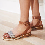 Alexis Leather and Raffia Sandal