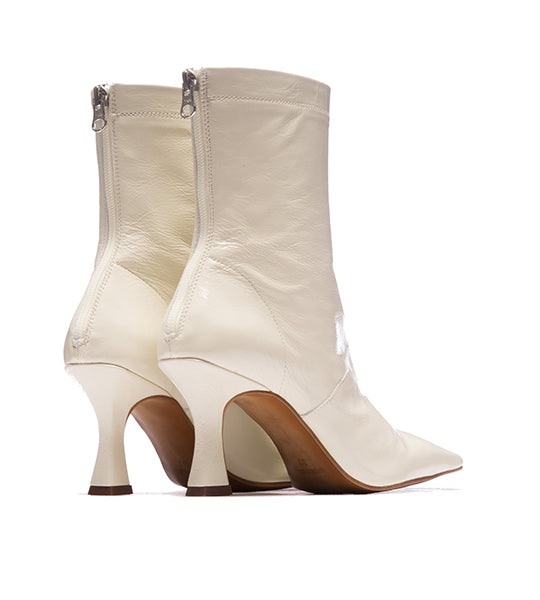 Ansley White Leather Bootie