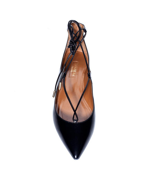 Aquazzura Christy Leather Flat with Laces - TheSeptember.com