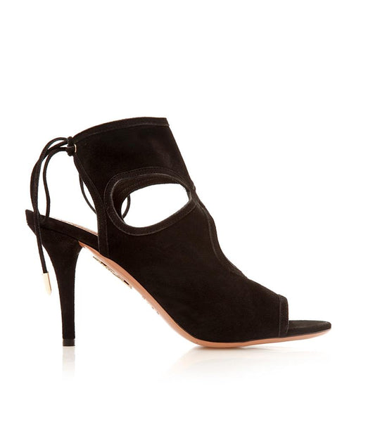Sexy Thing Suede Peep-Toe Bootie Black