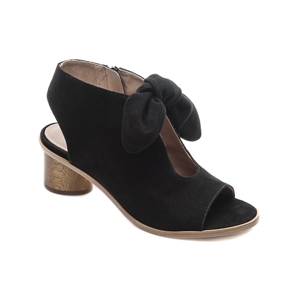 Luna Wood Heel Sandal Black