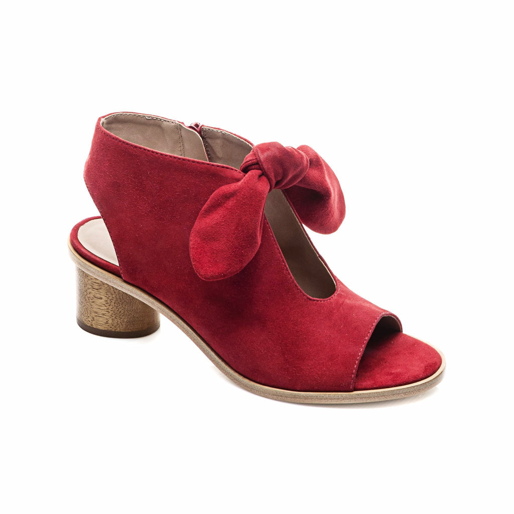 Luna Wood Heel Sandal Red