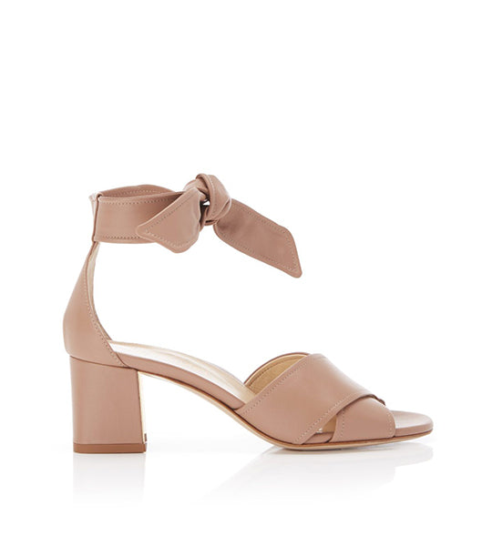 Bella Blush | Leather Block Heel Ankle Tie Sandal