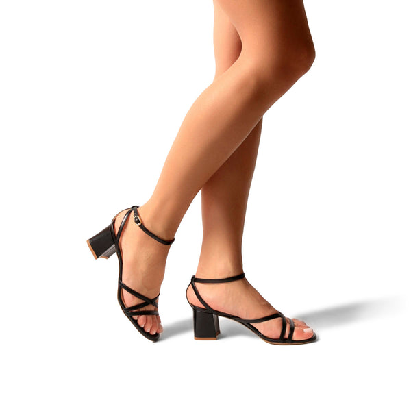 Bianca Black | Strappy Leather Block Heel Ankle Tie Sandal