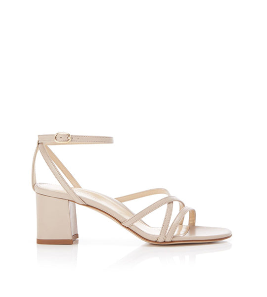 Bianca Beige | Strappy Leather Block Heel Ankle Tie Sandal