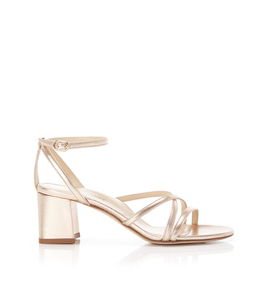 Bianca Rose Gold | Strappy Leather Block Heel Ankle Tie Sandal