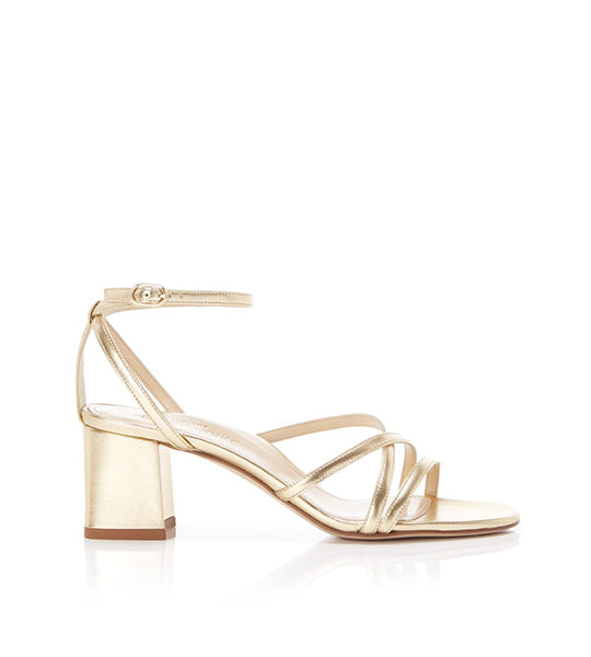 Bianca Gold | Strappy Leather Block Heel Ankle Tie Sandal