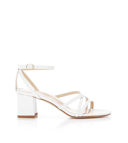 Bianca White | Strappy Leather Block Heel Ankle Tie Sandal