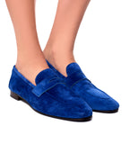 Bougeotte Blue Suede Loafers - TheSeptember.com