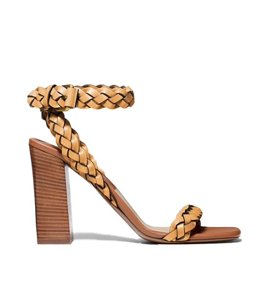 Braided Heeled Sandals - Wheat